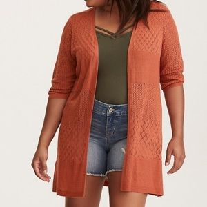 TORRID pointelle Orange cardigan 2X